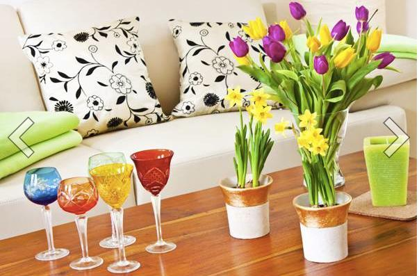 Adorn your house with a new set of flowers. Deep red roses, chrysanthemums, orchids and tulips are the ideal picks.