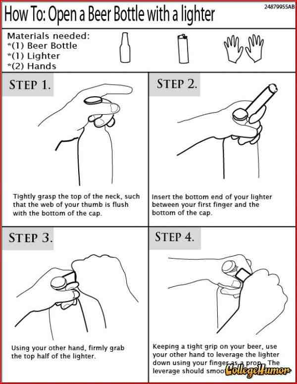 How to open a beer bottle with a lighter.