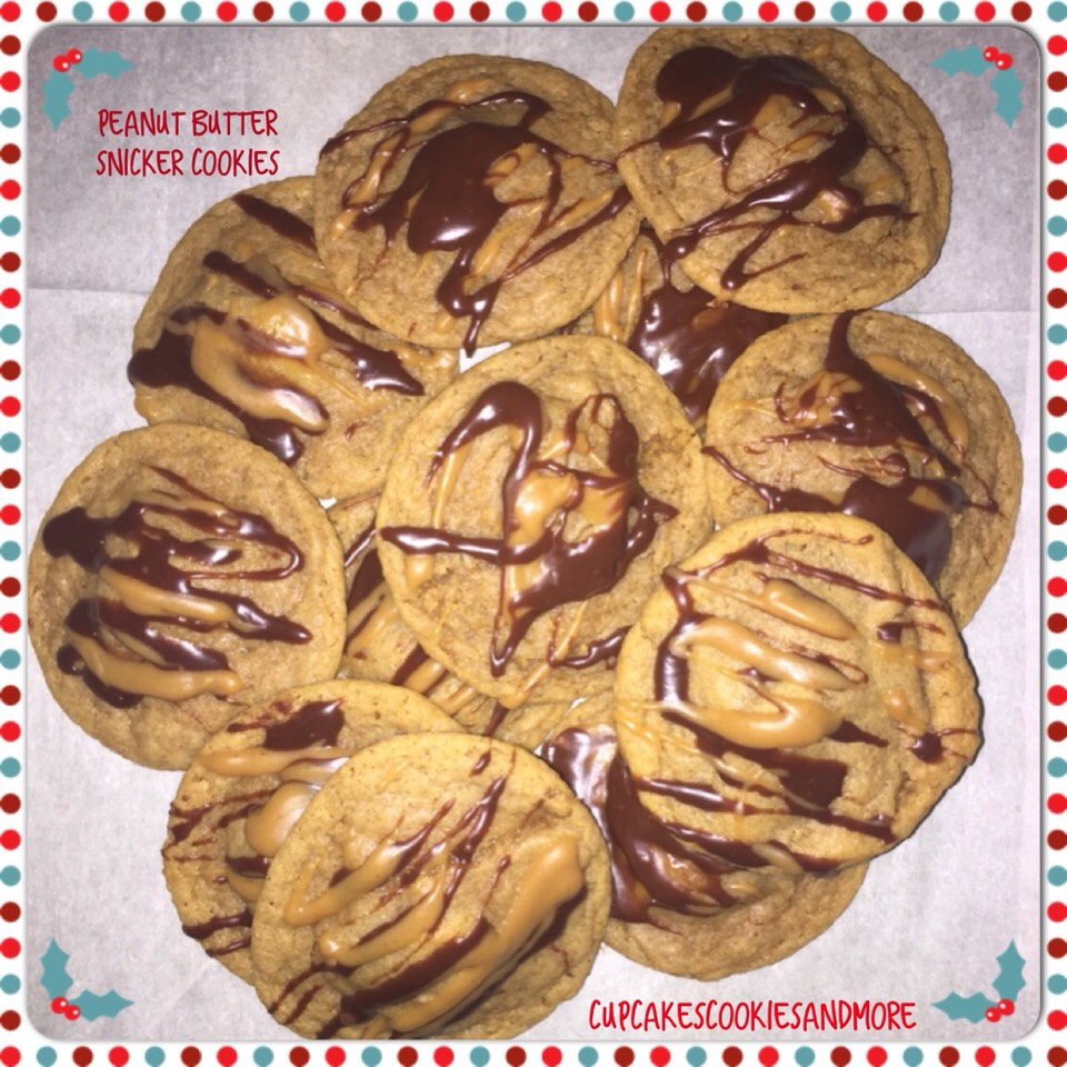 Peanut butter cookies stuffed with a snickers mini and drizzled with peanut butter and chocolate.