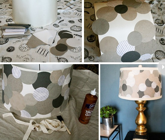 Use fabric circles that compliment each other or you could do strips the more you layer the different the look so keep your lamp on hand and test out your design every once in a while I did one for my mom with all different shapes and layered a lot came out great!