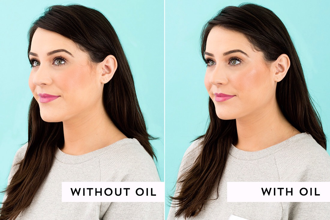 Tap the oil onto your cheekbones, the bridge of your nose, your cupid's bow and your brow bones. Now you'll have a beautiful natural radiance, especially on camera.