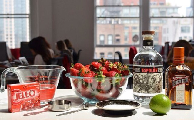 What you will need:  1) Strawberries 2) Alcohol of your choice 3) Jello (preferably red) 4) Lime 5) Salt