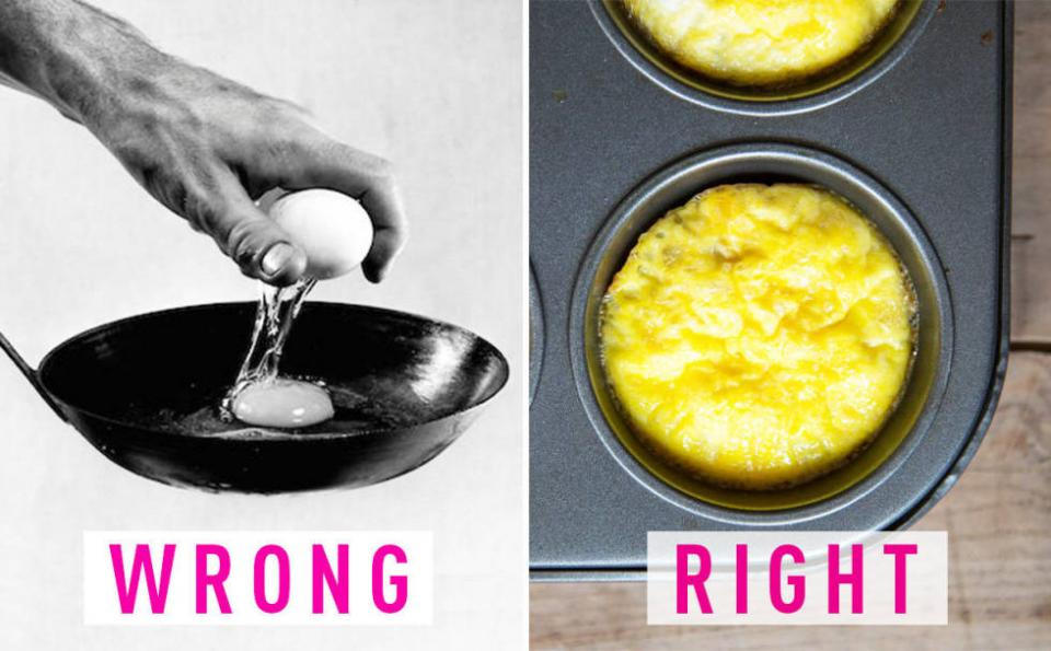 8. You cook eggs every. Single. Morning. That takes time and effort, and produces dirty pans and dishes daily. Prep the whole dozen at one time: