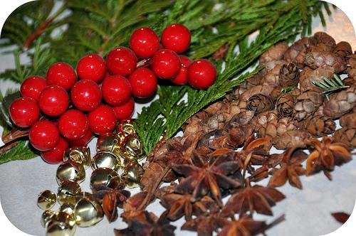 YOU WILL NEED: cinnamon sticks cut some fresh cedar branches  collect any miniature pine cones you can find  star anise bells  red berries anything else you would like to add