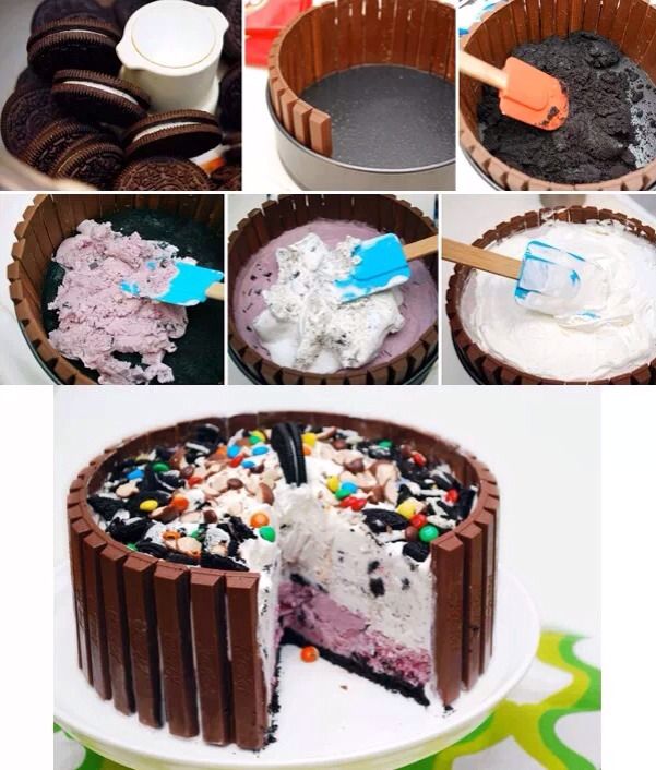 First you crush some Oreos while your Oreos are crushing you put kit kat sticks up in a cake pan like in the picture then you take the crushes Oreos and spread it in the bottom of the pan then you add whatever ice cream flavor you want on top and bottom spread and add toppings and there you have it.