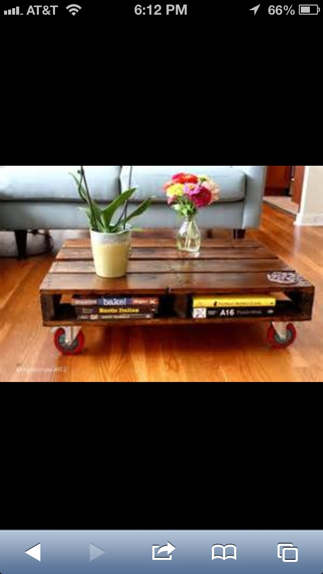 Paint the pallet any color you want, add some wheels (found in different sizes and Home Depot or lowes) and you have a unique coffee table.