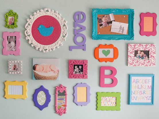 Hang letters, frames, and pictures for an edgy look.