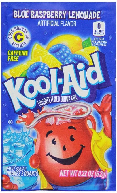 1-2 packets of raspberry lemonade powdered kool aid mix