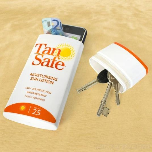 Whether at the beach or water park, keep your valuables handy but hidden in a suntan lotion bottle or case of hand wipes.