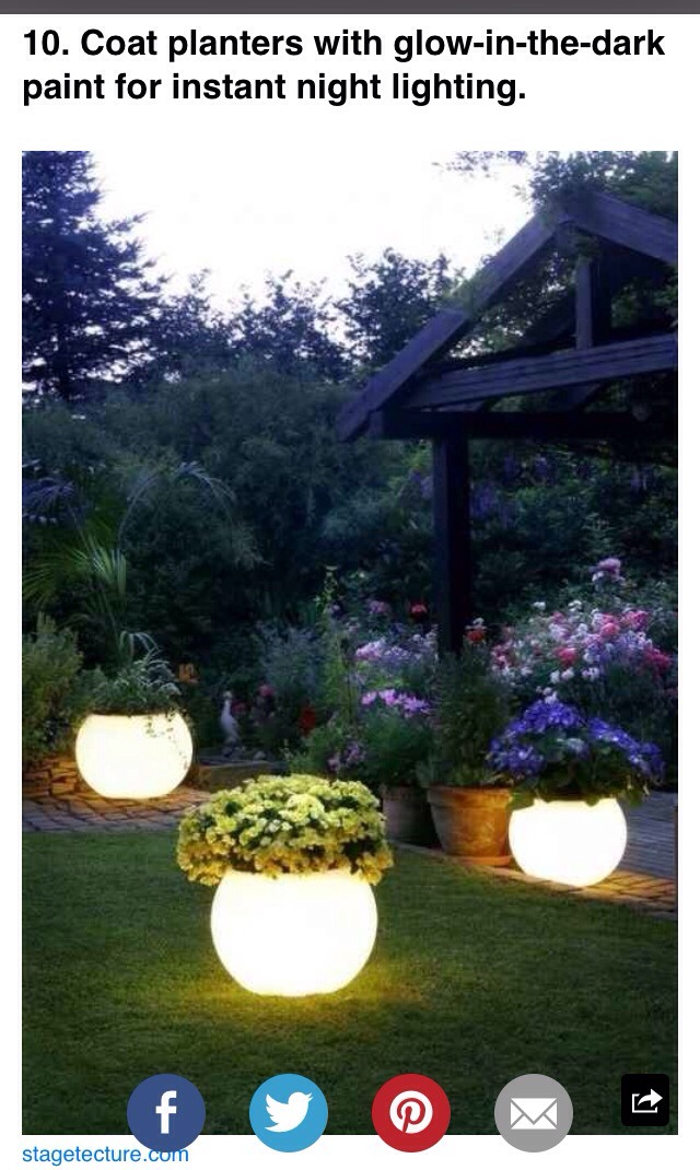 Paint pots with glow in the dark paint for a cool nighttime yard decoration