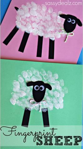 Make some fingerprint sheep with your kids! It's really a basic craft that any child can do! These could be perfect for a homemade Easter card or just to hang up.