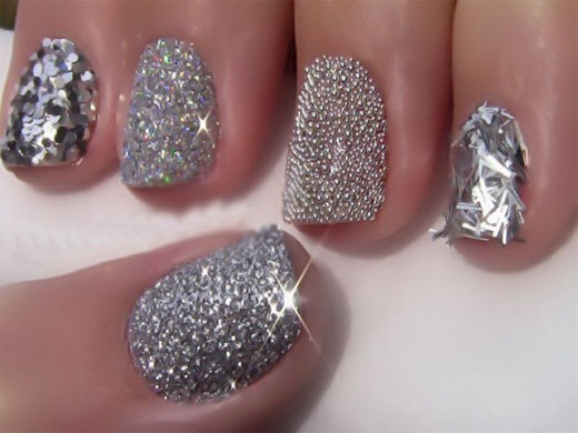 * Make a glitter topcoat by mixing some craft store glitter with a clear topcoat.
