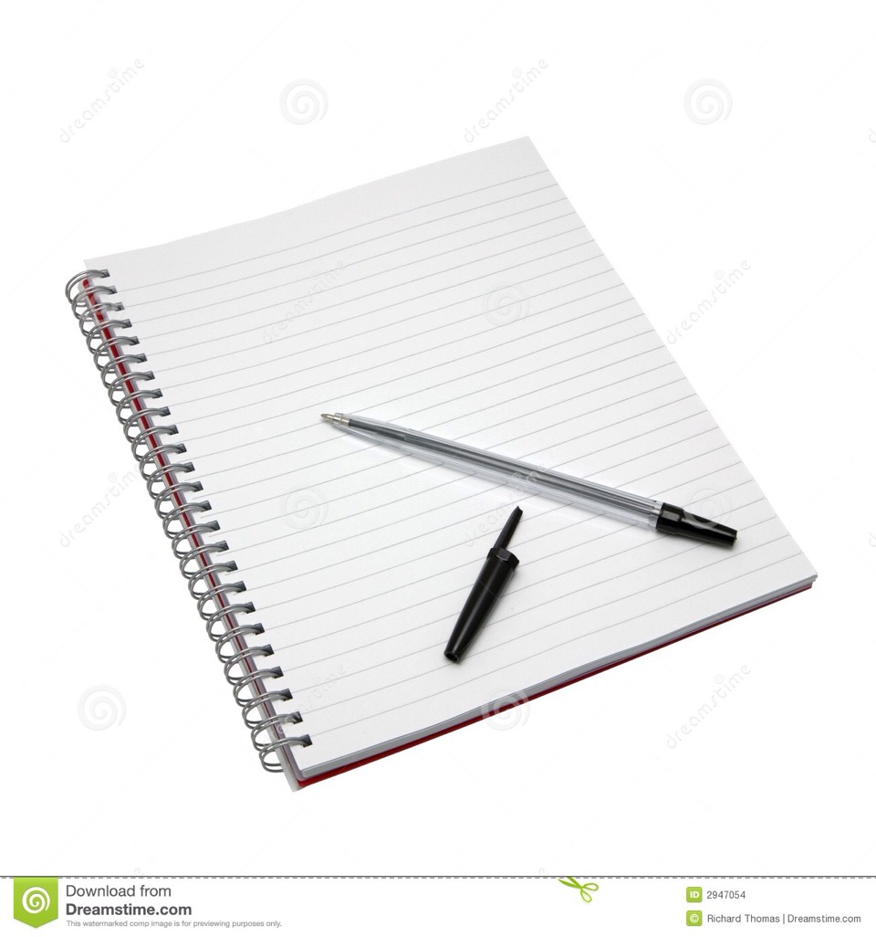 A notebook or a diary and pen to write ideas down