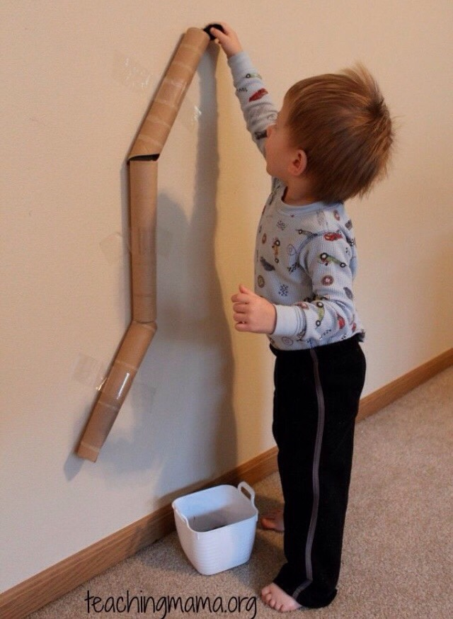 Use toilet paper or paper towel rolls to make a fun ramp on the wall for cars or balls.