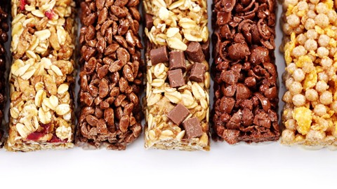 Granola Bars Granola bars sounds a lot healthier than they actually are; some brands contain up to 9 grams of sugar per bar. Look for bars that are less than 35 percent calories from sugar try snacking on a piece of fruit