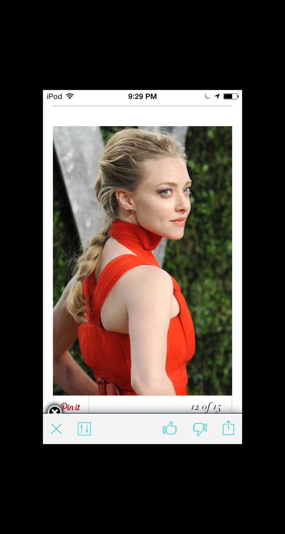 Back to Back For a more polished version, pull a few strands out from the crown, like Amanda Seyfried.