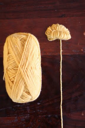 At this point, your yarn pom pom ball should look like the picture above.