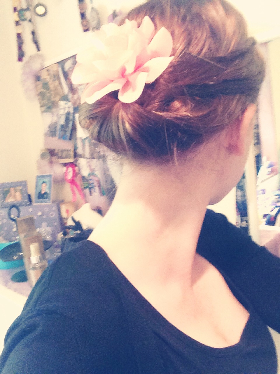 Pin down and add flower clip to complete the look