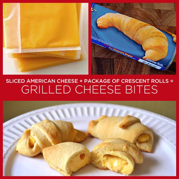33. Sliced American Cheese + Package of Crescent Rolls = Grilled Cheese Bites