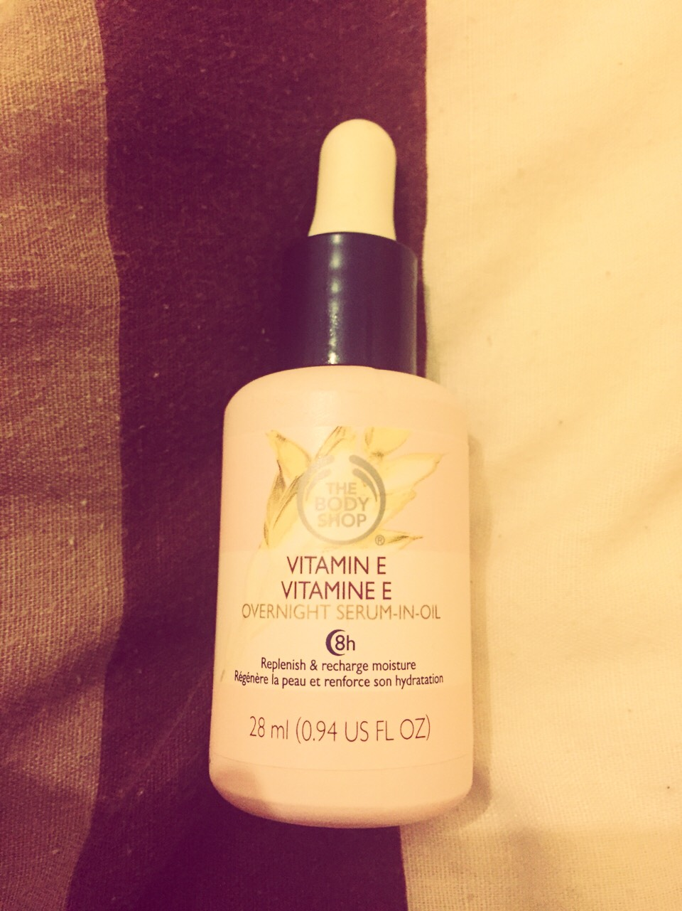 Body Shop Vitamin E Serum!  It's my beauty fav at the moment!  My skin has improved massively since using this product! I've been using this for 2 weeks every night and have seen a massive difference! I don't look as ghostly without makeup anymore, I have a glow! ...