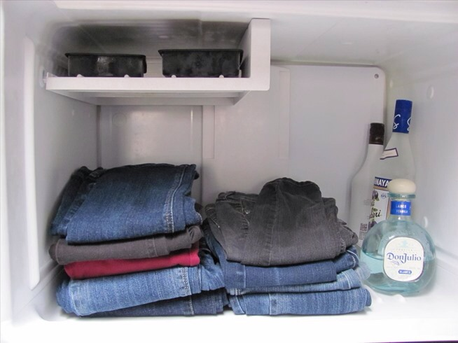 Jeans smelling a little weird just place in freezer and after a couple house they well smell fresh I guarantee you