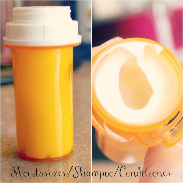 Use your old medication bottles to store your shampoo, moisturizer etc. make sure to clean if first, of course! Don't want to smell like that stinky medicine! 😜