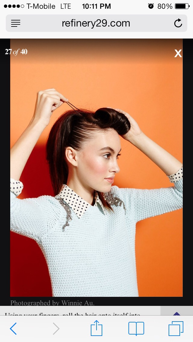 Using your fingers, roll the hair onto itself into a large, cylindrical pincurl. Secure with bobby pins.