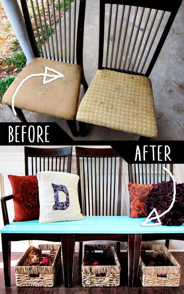 Old Kitchen Chairs Hack   http://spoonfulofimagination.com/repurpose-old-kitchen-chairs/