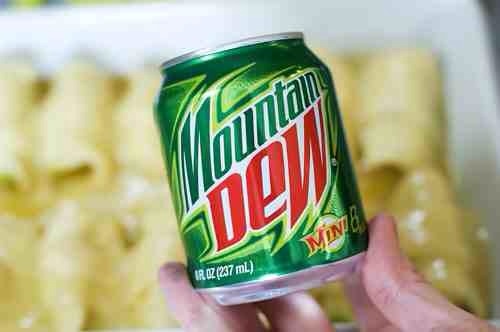 Now, the recipe calls for a 12-ounce can of Mountain Dew, but I wound up using only one of these little ones. And by the way, aren't these just the cutest little things?
