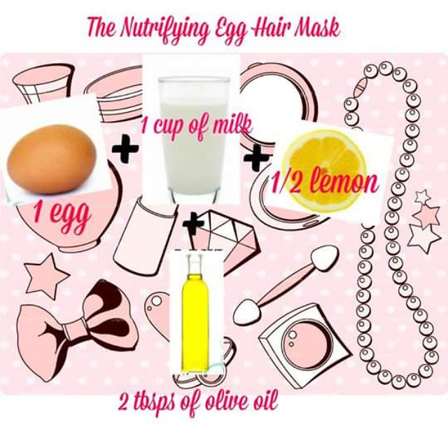 #Nutrifying egg hair mask! 1 egg 1 cup of milk 1/2 a lemon 2 tbs of olive oil Now before you say eew, imagine the soft feel and shine your hair will get after you treat it calcium, protein and other nutrients! Mix ingredients and apply to hair and let sit for at least 15 mins.
