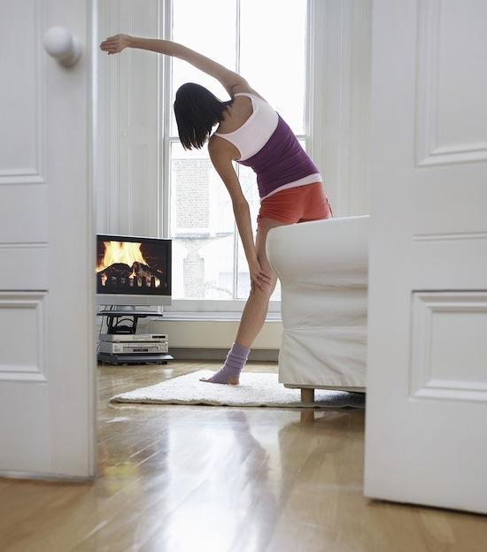 14. Stretch While Watching TV Stretching is the one thing that I always forget to do. ALWAYS. I have to set aside time and plan it, otherwise I neglect to do it. Unfortunately, you don't realize the importance of it until you get injured.