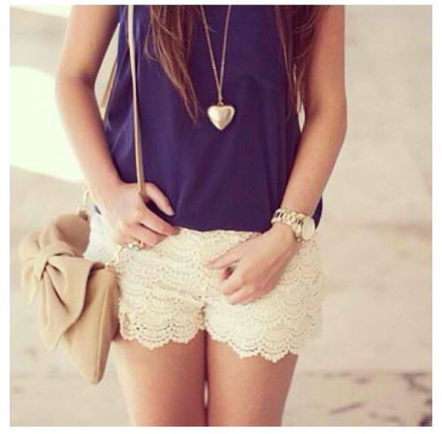 Not just the same old denim shorts anymore! And the necklace is so cute