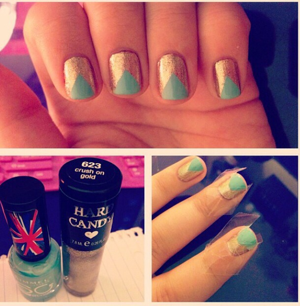 1) Take a light color and paint entire nail 2) Wait until nails are completely dry and then use small strips of tape (nothing too sticky) to create a triangle shape on the tip of the nail 3) Paint in the triangular area between the tape. Let it dry for a few minutes and then peel away!  You're done!