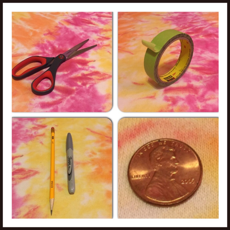 Items needed: scissors, tape (any kind should do), pencil/pen, cylinder object (I used another writing utensil), and a penny