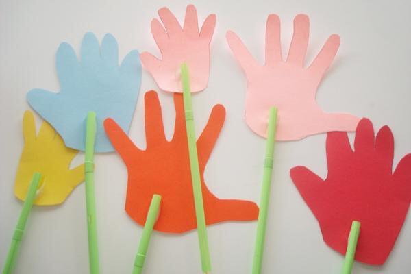 Защитник, открытка своими руками ладошка с цветами