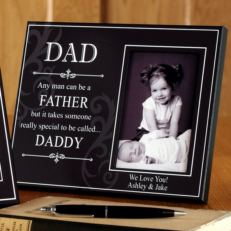 Personalized picture frame with his kids' pictures inside.