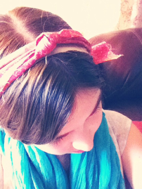 Knotted headband- Tie one piece around your head Then take another piece and tie a knot in the middle  Then tie the knotted piece around your head  over the first peice. Viola!
