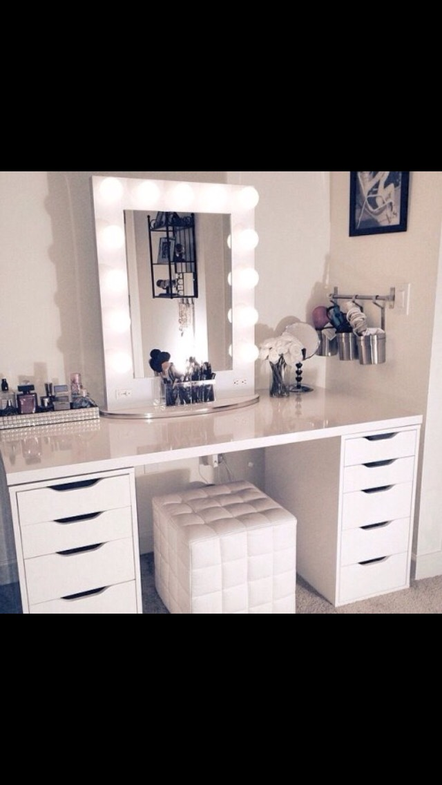 Many people ask where you can get these cute drawers, and you can get them at ikea.They are great to store makeup and different beauty products.They have the shorter one shown in this photo, and the tall one shown in the next photo.