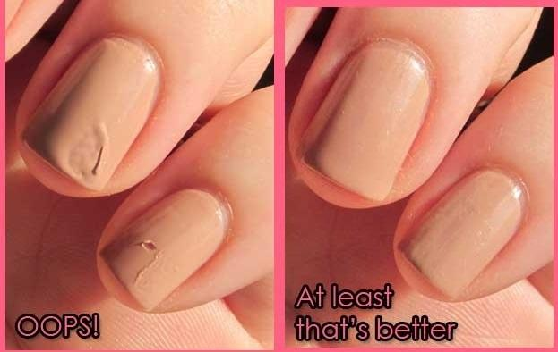 But if they do get smudged, fix them by licking your finger and smoothing over the polish.