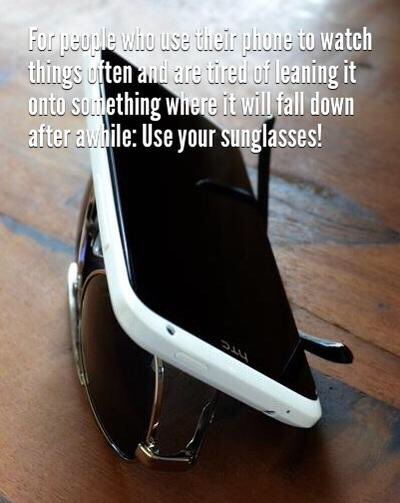 Flip your sunglasses or glasses over and use it as a phone stand!
