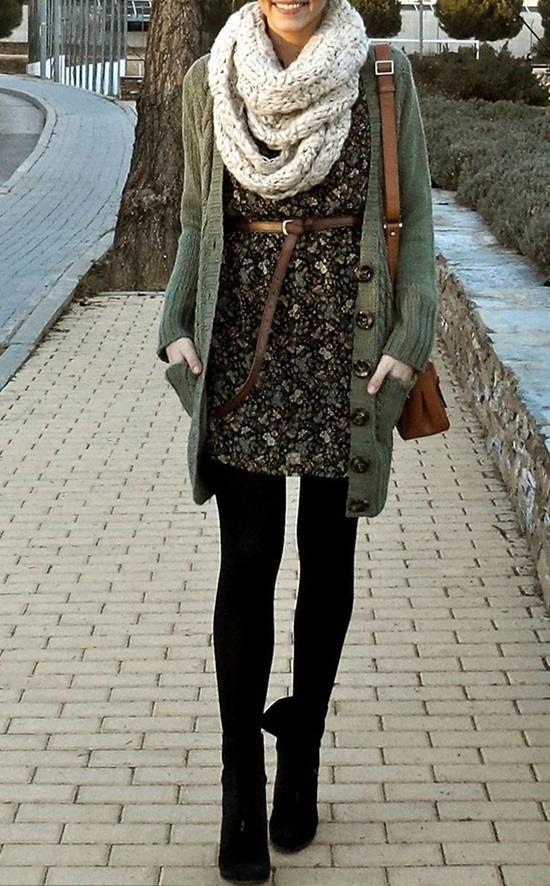 15. Flower Print Dress & Knit Layers