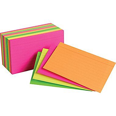 7. Index Cards Index cards are great for studying. In my Spanish class, we are required to write our vocabulary out on index cards. I'm very glad we do that because it helps a ton when studying.