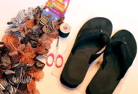Flip flops, on hand or $1 and up Wild animal print lei, $1 and up Needle and thread, on hand Scissors, on hand