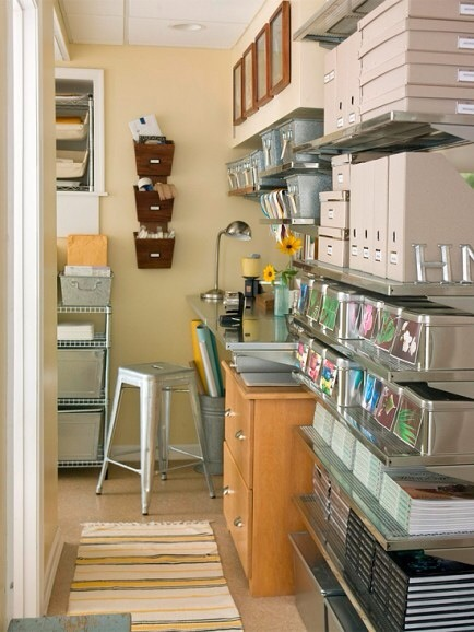 Walkthrough to Workspace  Turn a small walk-through into a work space by utilizing all of the vertical space with tidy shelves and bins.