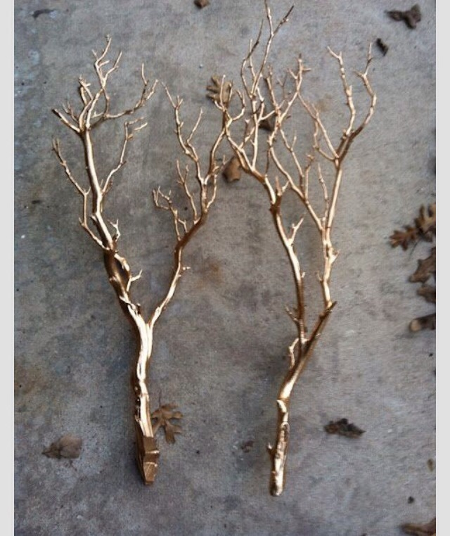 Gold painted branches look great in a vase, used in flower arrangements, mounted on a wall or placed on a table/mantle! Easy & cheap! Looks great!
