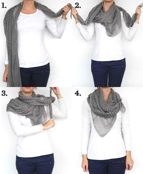 2. The Muffler Probably one of the most fashionable way to tie your scarf is the muffler way. It's simple yet very cute.
