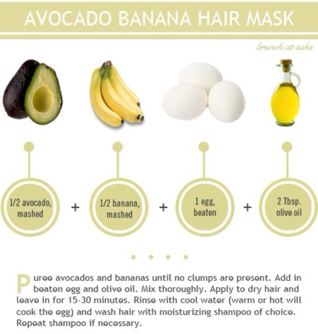 Mix 1/2 an avocado, 1/2 a banana, 1 beaten egg, and 2 tbsp olive oil until no lumps are present. Apply to dry hair for 15-30 mins and rinse with cool water then wash with shampoo