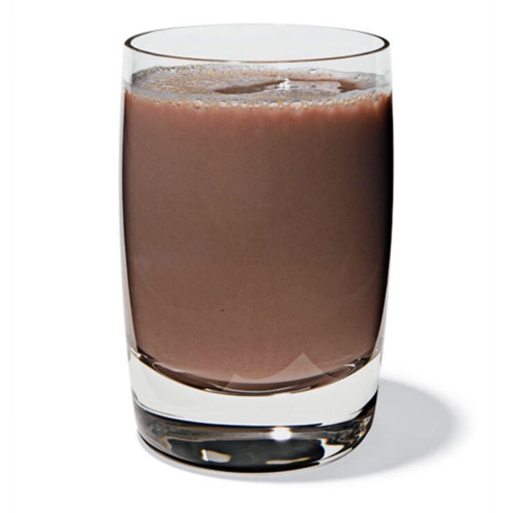 CHOCOLATE MILK (1 C NONFAT MILK + 1 TBSP HERSHEY'S LITE CHOCOLATE SYRUP) Quell your inner cocoa monster and get a hit of calcium.