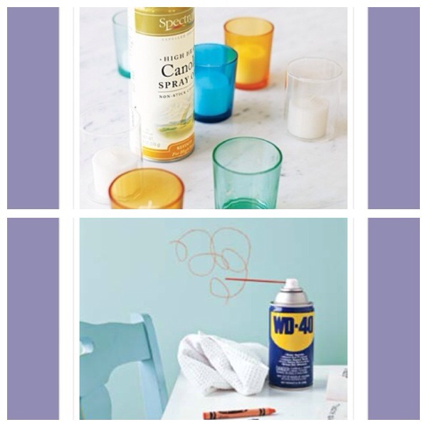 33. Use non-stick cooking spray in votive holders to prevent wax from sticking to the sides  34. WD40can be used to remove crayon marks on any surface