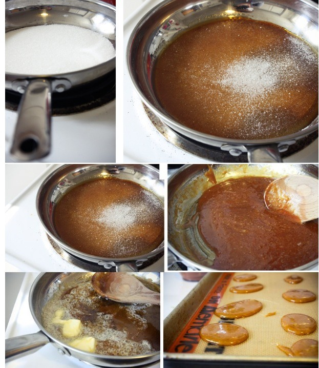 Once most of the sugar is melted, then take your spoon and stir it up a bit.JUST after the caramel starts to smoke, remove it from the heat, and immediately add a generous spoonful of butter! This will stop it from cooking. Stir it up completely!
